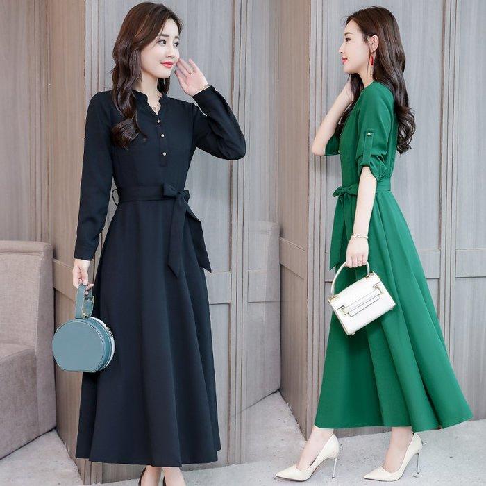 復古 連身裙 甜美 印花 長袖洋裝 實拍連衣裙女中長款秋季韓版氣質顯瘦長袖裙子