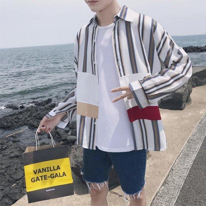長版襯衫韓版格子襯衫男生寬鬆小清新學生帥氣七分袖條紋襯衣潮流