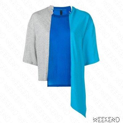 【WEEKEND】 UNRAVEL 拼接 不規則 後穿孔綁帶 寬鬆 短袖 T恤 上衣 藍色 19春夏