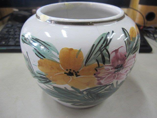 二手舖 NO.1745 陶瓷花瓶 酒甕 花卉圖樣 古早收藏