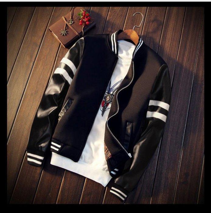 兩件免運 日系橫紋線條 黑白款棒球外套 皮革質感 PU材質 夾克 風衣 防風外套 皮衣【M23】