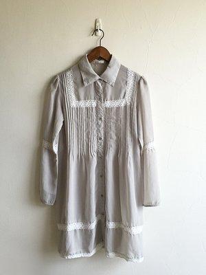 日本one after another NICE CLAUP 淺灰色透膚雪紡罩衫長上衣或洋裝|M|99%NEW