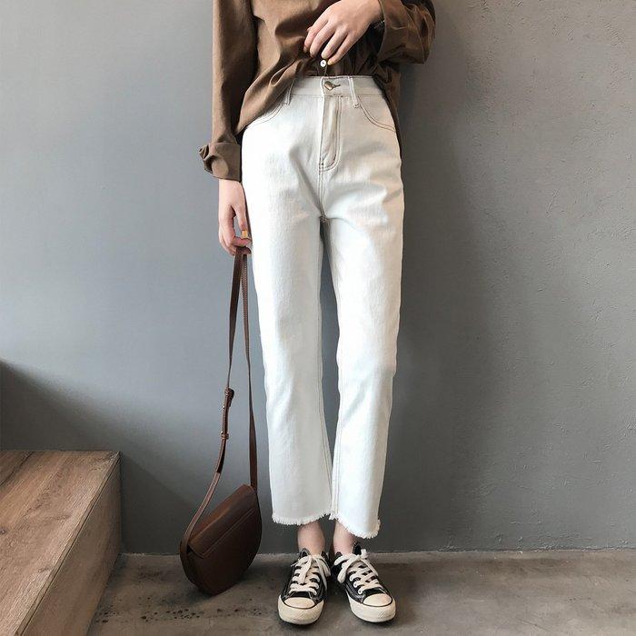 【Elfalas】韓版顯瘦直筒百搭牛仔褲