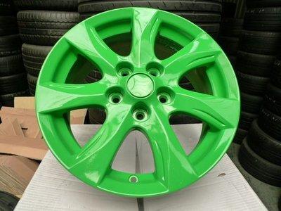 【小李輪胎】16吋5孔114.3 馬自達 原廠中古鋁圈 改螢光綠 1組四顆特惠價有保固~舊圈可回估