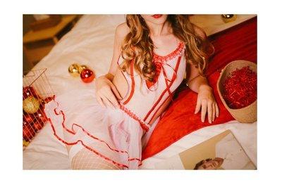 制服誘惑 性感睡衣 誘惑女仆睡衣套裝圣誕系帶白紗吊帶睡裙性感護士服綁帶連體塑身衣