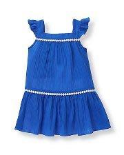 美國童裝名牌 Janie and Jack Circle Trim Cover-Up 藍色鑲白色圓蕾絲荷葉袖邊洋裝 3T