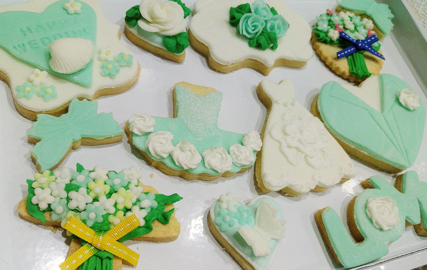 36片婚禮主題翻糖/糖霜餅乾特惠套組 tiffany主題婚禮餅乾candy bar 任選四款花色 婚禮小物 二進小物