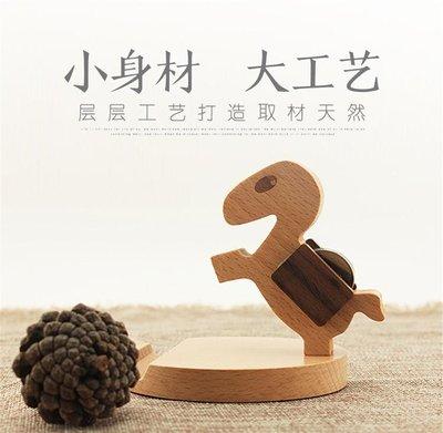 木質小鹿創意可愛手機座懶人桌面卡通手機支架萌物公司生日禮物