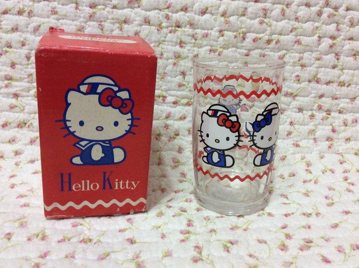Sanrio hello kitty 海軍玻璃杯《日本製.1999年商品》收藏出清
