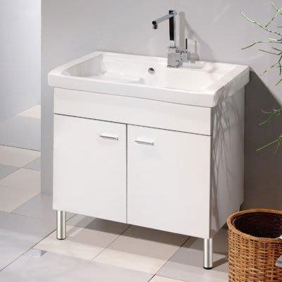 《101衛浴精品》100%全防水 一體成型陶瓷洗衣槽浴櫃組 80CM【免運】