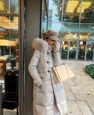 Modem Girl♥100%實拍 大推薦必買!!正韓 超大真狐狸毛領!! 抗寒款~質感牛角扣100%輕薄羽絨保暖外套