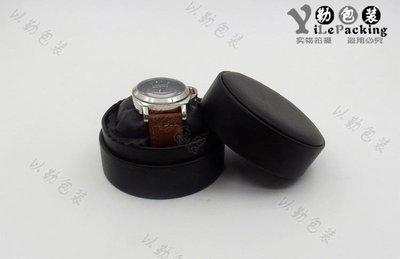 YEAHSHOP 圓形手錶盒子黑色皮質展示收納通用錶盒圓枕頭小號便攜錶盒295804Y185