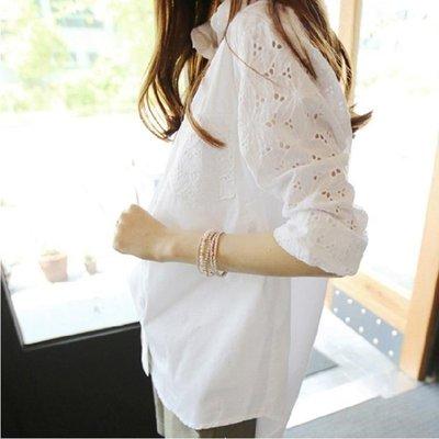ZIHOPE 襯衫 大碼襯衫女春裝新款寬鬆韓版胖MM純棉質中長款大號大款襯衣寸ZI812