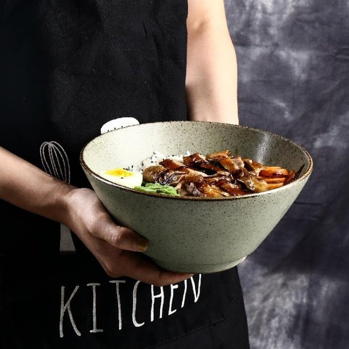 日式斗笠碗沙拉碗面碗創意家用碗復古手工陶瓷拉面碗湯碗大碗