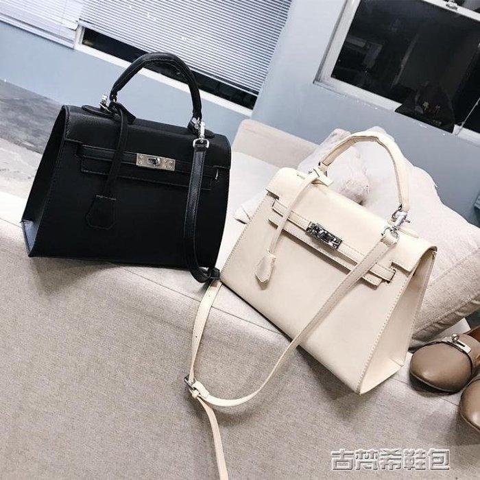手提包包女新款歐美鎖扣鉑金女包簡約時尚凱莉包潮單肩斜背包