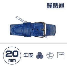 【鐘錶通】C1.06KW《繽紛系列》鱷魚壓紋-20mm 寶藍┝手錶錶帶/高質感/牛皮錶帶┥