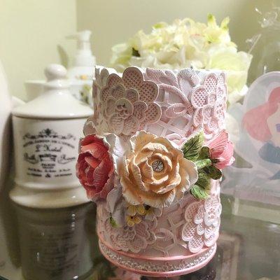 筆筒--浪漫優雅立體玫瑰筆筒/置物桶--秘密花園