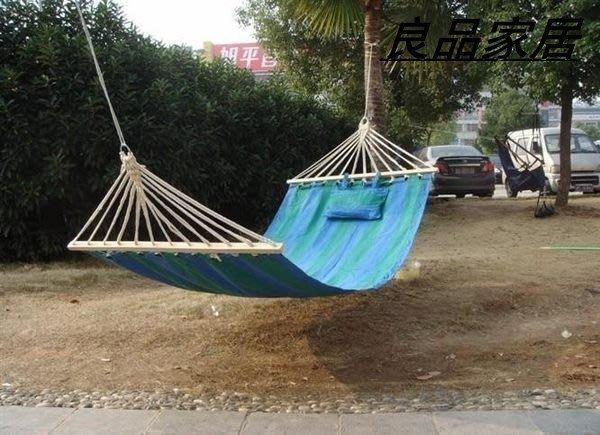 【優上精品】帶枕頭單人吊床 戶外吊床 彩色條紋 帆布吊床 戶外露(Z-P3237)
