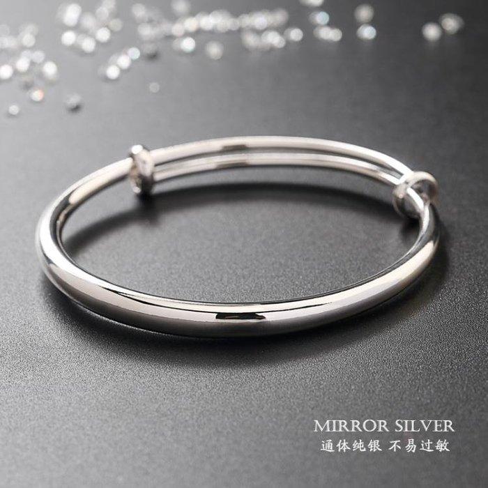光面S925純銀手鐲女韓版學生森系銀飾手環女維拉銀鐲子送女友禮物