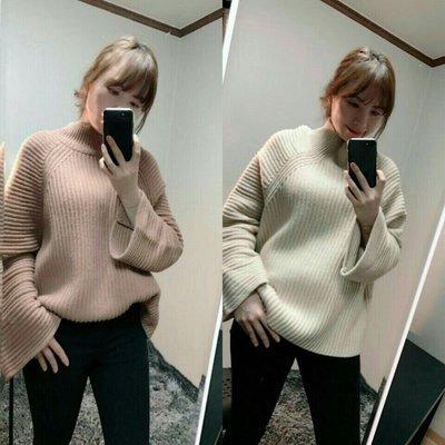 EVA精緻坊【韓國衣飾】【立領寬口喇叭袖上衣】現貨咖