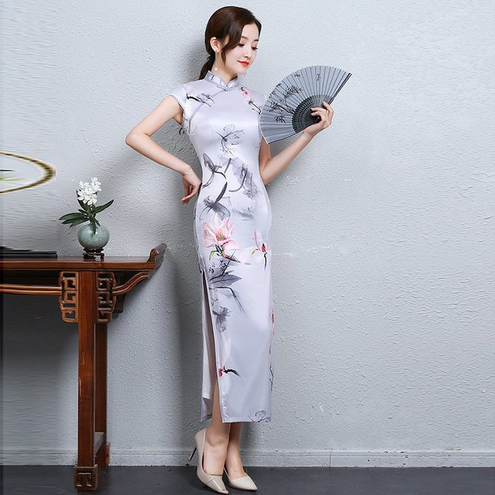 傳統 中國風 淑女 修身 高腰 顯身材 祺旗袍長款夏季女中國風修身顯瘦優雅端莊大氣走秀連衣裙