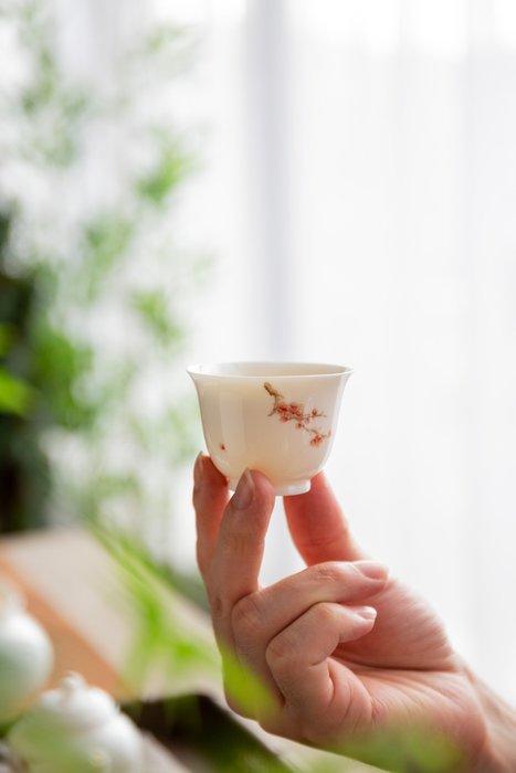 【茶嶺古道】手繪玉瓷 品飲杯 / 白瓷 茶杯 品飲杯 反口 飲杯 品茗杯 茶藝用品 功夫茶具