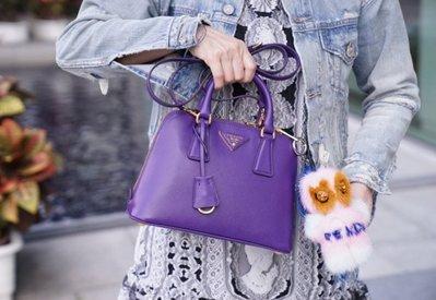 Prada BL0838 Saffiano Vernice Mini Promenade Crossbody 附斜背帶小型貝殼包紫