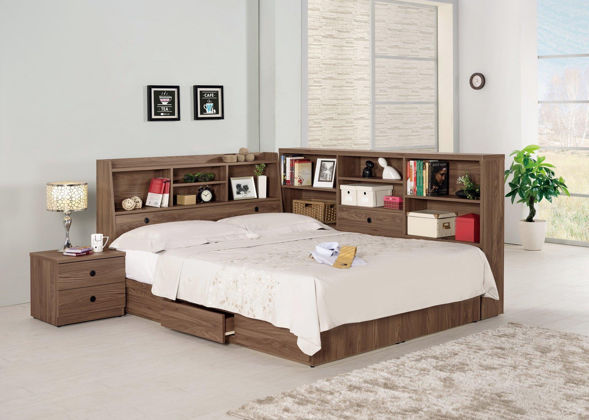 ☆[新荷手作] 20C138 ☆書架型5尺雙人床組(四件組-可拆買) 床架