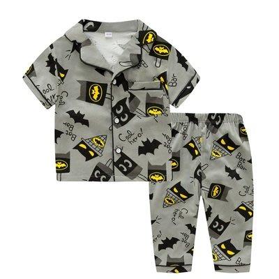 •*~ 辣媽咪衣飾小舖 ~*•❤童裝系列❤K950193韓版兒童夏款超可愛萌款『蝙蝠俠』圖案家居服上衣+長褲二件套