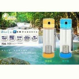 【人因康元】新負離子能量創意果茶壺 600ml TT6010 不含雙酚A/瓶口按壓彈跳/不鏽鋼濾網