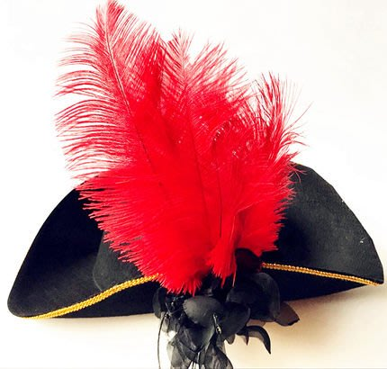 艾蜜莉舞蹈用品*表演帽*/三角羽毛海盜帽/鴕鳥毛加花歐式宮廷帽$350元