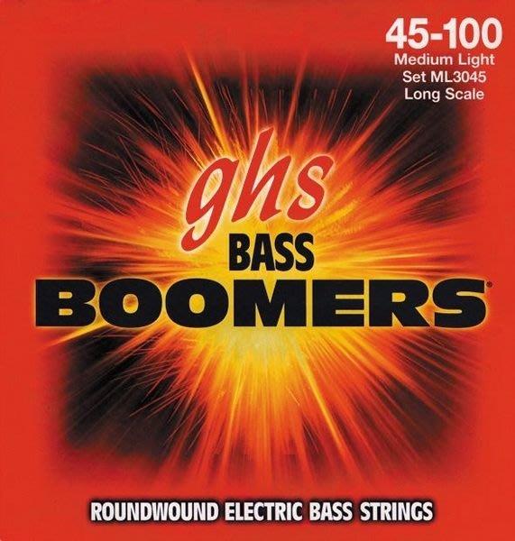 造韻樂器音響- JU-MUSIC - 全新美國 Ghs BASS BOOMERS 電貝斯 弦(45-100 Med Light ) 歡迎下標