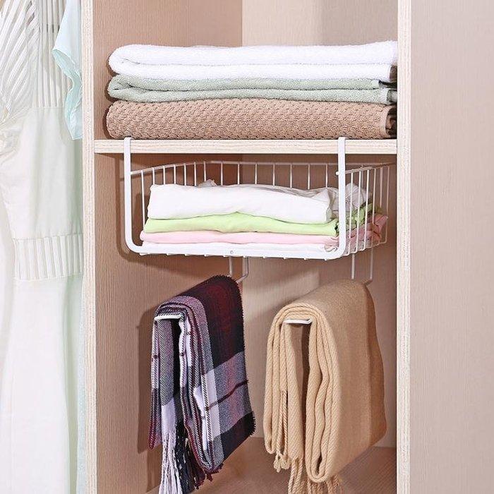 衣櫃收納架分層置物架廚房櫥櫃隔層下掛架宿舍下掛籃層架整理架子WY