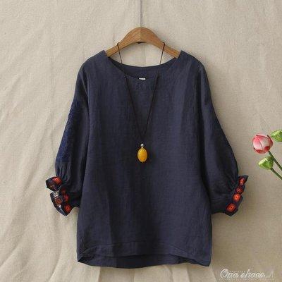 棉麻夏五分袖復古袖口刺繡文藝百搭寬鬆顯瘦女苧麻上衣T恤