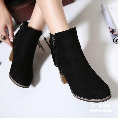【格倫雅】^新蘇女靴磨砂皮高跟粗跟短靴女秋冬側拉鏈圓頭短筒馬丁靴66[g-l-y03