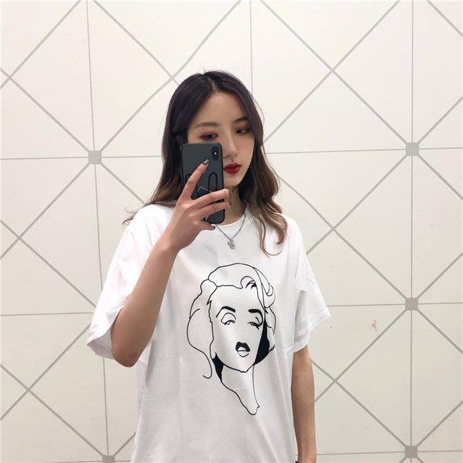 FINDSENSE G6 正韓女裝上衣 大尺碼顯瘦簡約慵懶衫長T素T棉T圓領寬鬆T短袖女T恤網紅商品女t-shirt