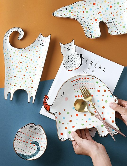 兒童碗盤 陶瓷動物盤 創意可愛點心盤 寶寶米飯碗(1入)_☆找好物FINDGOODS ☆