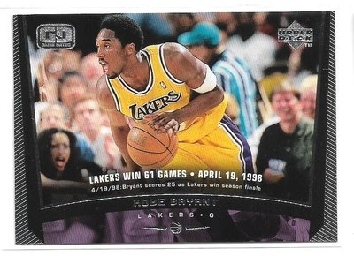 98-99 Upper Deck Game Dated Kobe Bryant 湖人