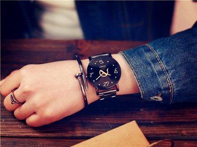 半島鐵盒 鋼帶手錶 韩版女中学生时尚男士钢带防水石英情侣手表一对