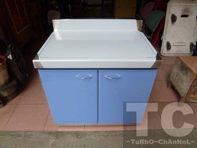 流理台【80公分工作平台】台面&櫃體不鏽鋼 素面藍色門板 最新款流理臺