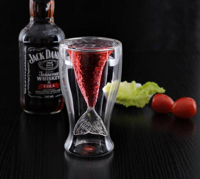 【奇滿來】美人魚 造型杯 透明雙層玻璃杯 隔熱杯 創意杯子 時尚 生活趣味 AUAD