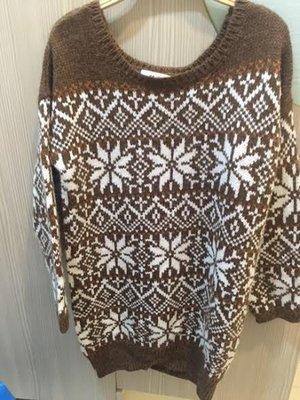 小花別針、【H2O】民俗風寬鬆咖啡色毛衣