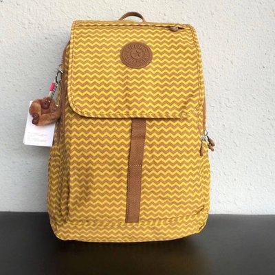 Kipling 猴子包 15377 黃色波紋 掀蓋拉鍊款輕量雙肩電腦包 後背包 大款 限時優惠 防水