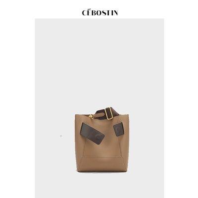 【Queen】香港代購 包郵【CEBOSTIN】PRESSING ON / 1201A1338 韓版簡約 撞色牛皮水桶包