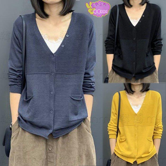 韓國MM= 秋季新款韓版女裝寬松顯瘦文藝純色長袖針織開衫薄款毛衣外套 =針織外套/薄外套/牛仔外套/棒球外套/夾克