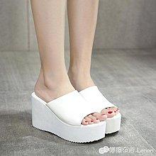 厚底鬆糕女涼拖厚底楔形高跟拖鞋白色魚嘴鞋防滑沙灘涼鞋 【創意家居】