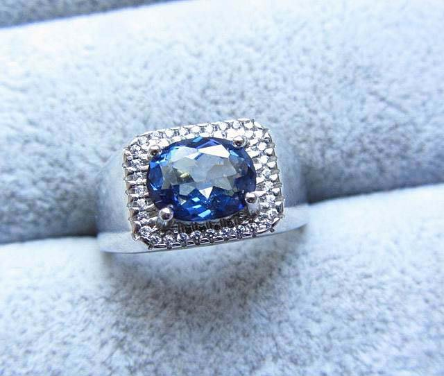 天然藍寶石戒指銀鑲嵌活圈內徑可調Sapphire 男戒女戒通透藍剛玉最具保值增值潛力首選首飾飾品