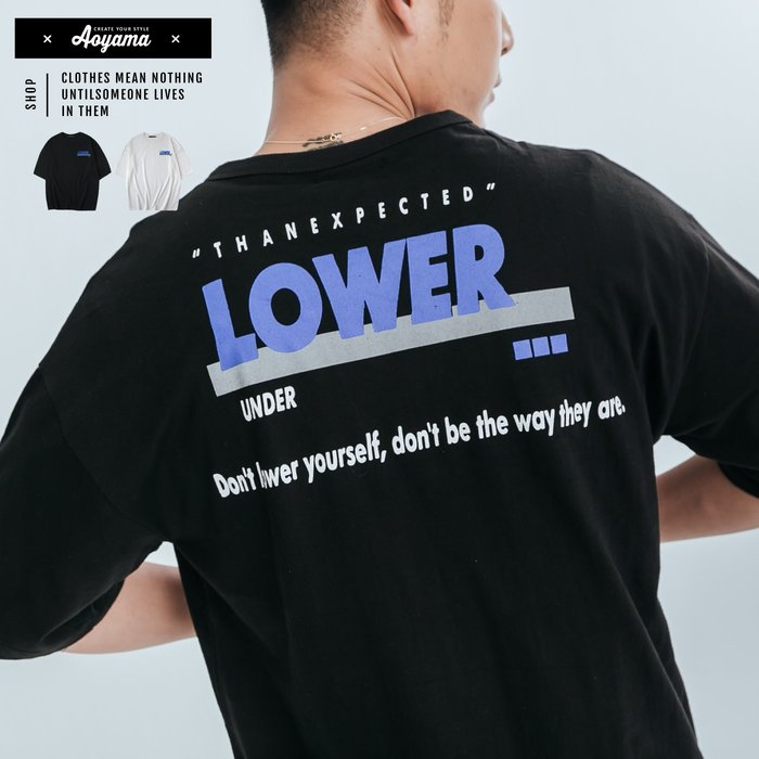 短袖 LOWER反光印花圓領短T【P8771】寬鬆短袖 五分袖 青山AOYAMA