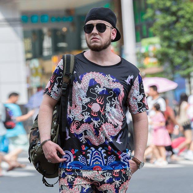 FINDSENSE品牌監製 大尺碼男裝 雙龍戲珠3D印花滿版圖案短袖T恤薄款個性短袖夏季男大尺碼寬鬆透氣T恤速乾排汗T