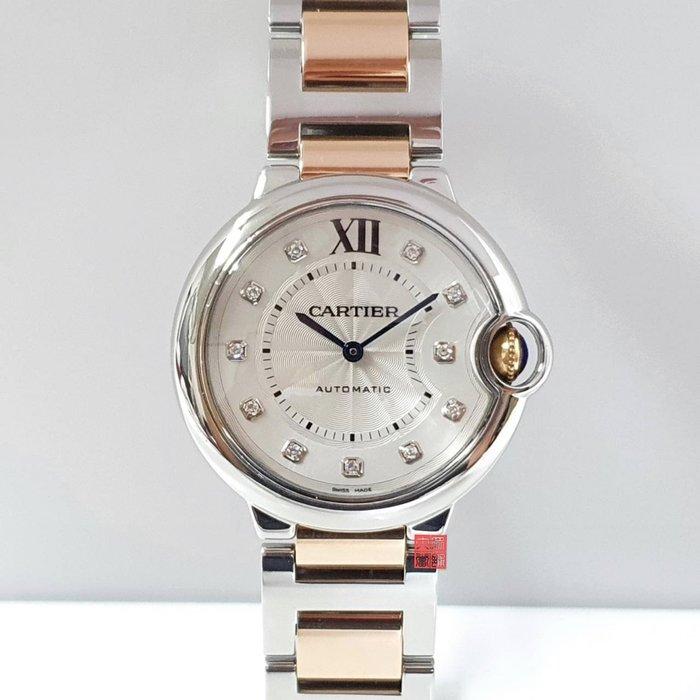 送禮禮物禮品 Cartier卡地亞 玫瑰金 原廠證書盒裝 台灣AD 品項極佳  錶徑36mm 大眾當舖 編號9161